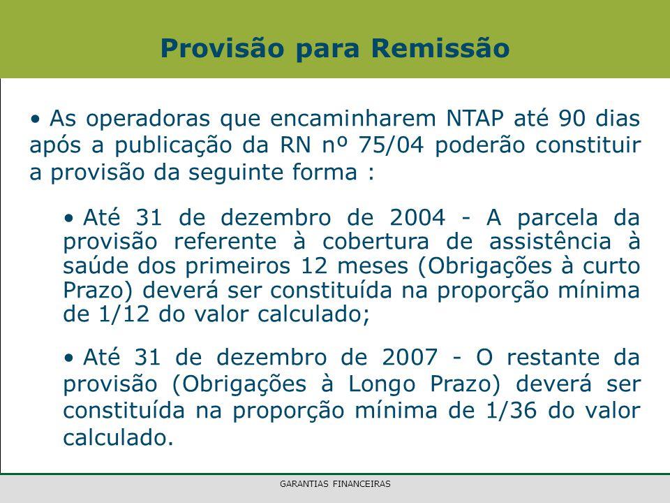 GARANTIAS FINANCEIRAS As operadoras que encaminharem NTAP até 90 dias após a publicação da RN nº 75/04 poderão constituir a provisão da seguinte forma : Até 31 de dezembro de 2004 - A parcela da provisão referente à cobertura de assistência à saúde dos primeiros 12 meses (Obrigações à curto Prazo) deverá ser constituída na proporção mínima de 1/12 do valor calculado; Até 31 de dezembro de 2007 - O restante da provisão (Obrigações à Longo Prazo) deverá ser constituída na proporção mínima de 1/36 do valor calculado.
