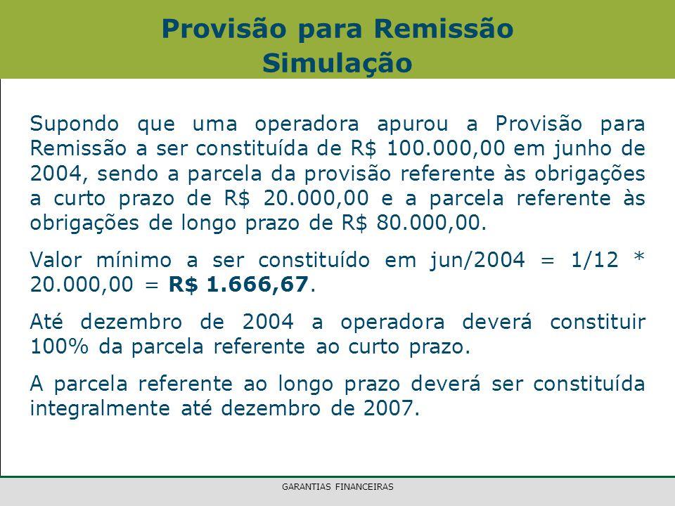 GARANTIAS FINANCEIRAS Provisão para Remissão Simulação Supondo que uma operadora apurou a Provisão para Remissão a ser constituída de R$ 100.000,00 em junho de 2004, sendo a parcela da provisão referente às obrigações a curto prazo de R$ 20.000,00 e a parcela referente às obrigações de longo prazo de R$ 80.000,00.