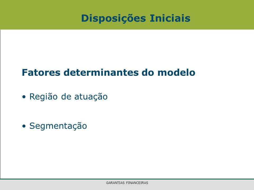 GARANTIAS FINANCEIRAS Disposições Iniciais Fatores determinantes do modelo Região de atuação Segmentação