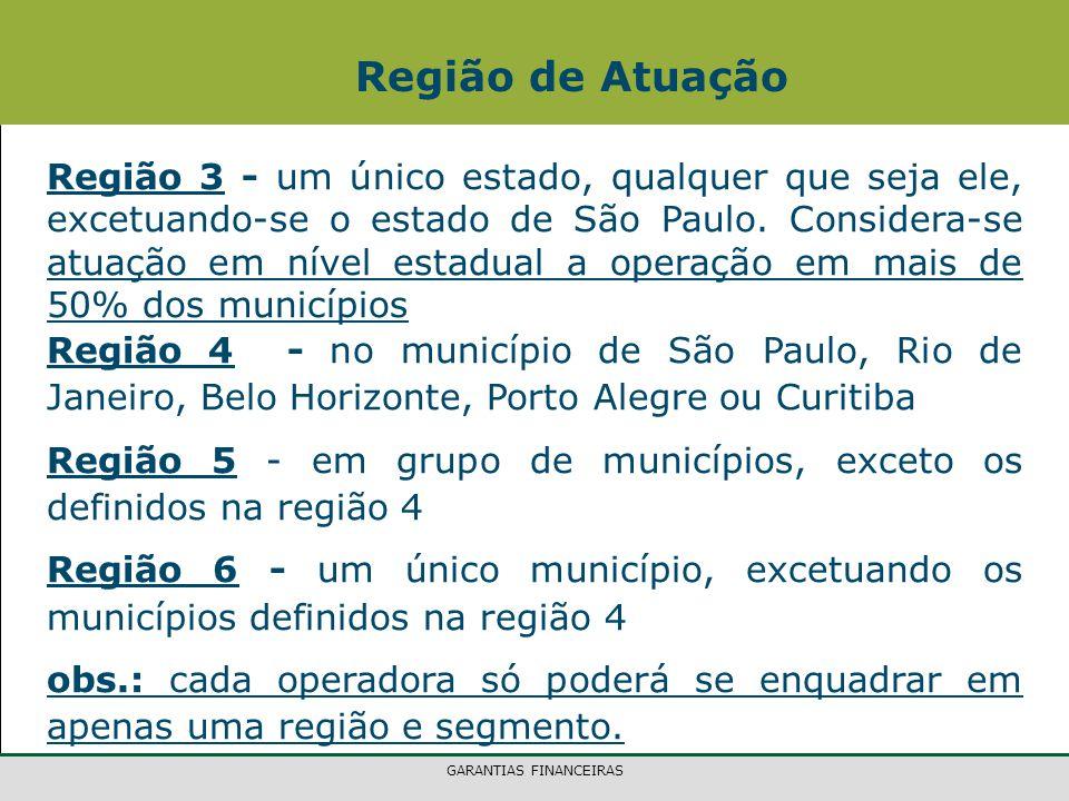 GARANTIAS FINANCEIRAS Região 3 - um único estado, qualquer que seja ele, excetuando-se o estado de São Paulo. Considera-se atuação em nível estadual a