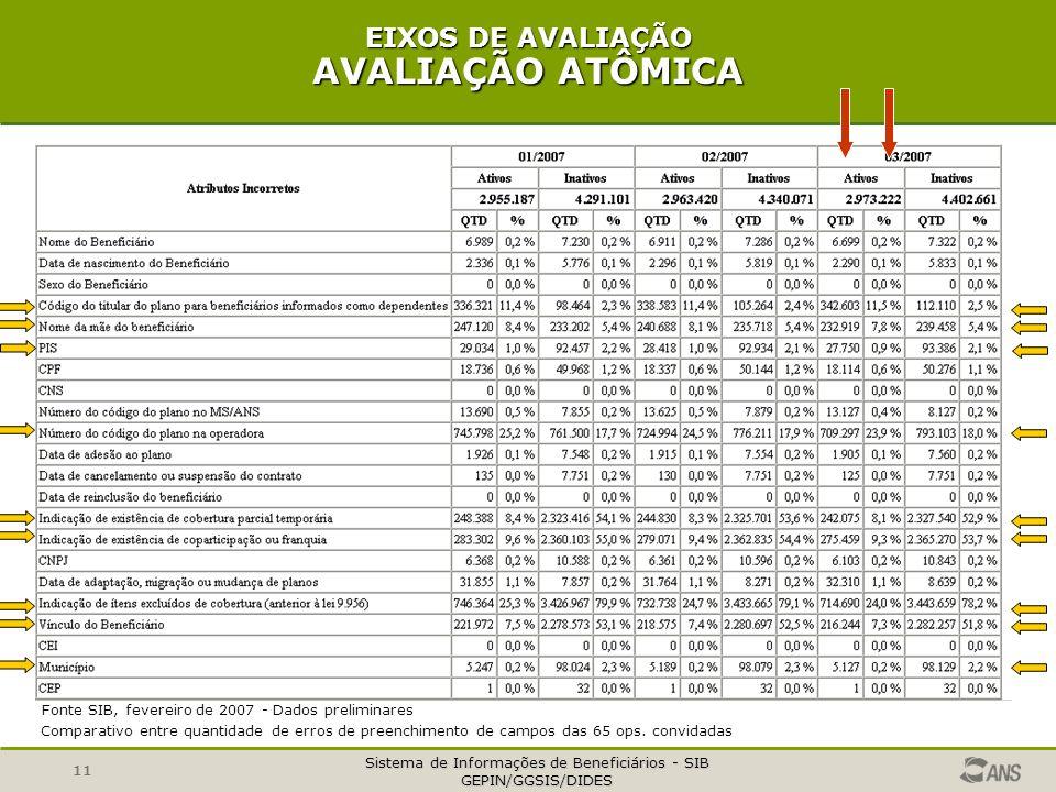 Sistema de Informações de Beneficiários - SIB GEPIN/GGSIS/DIDES 11 EIXOS DE AVALIAÇÃO AVALIAÇÃO ATÔMICA Fonte SIB, fevereiro de 2007 - Dados prelimina