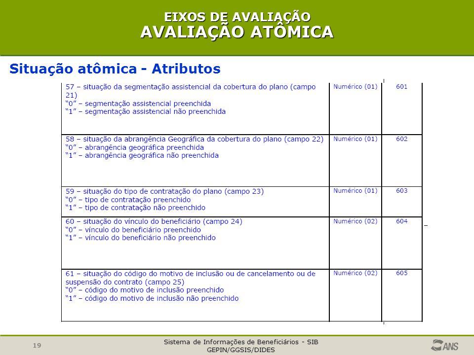 Sistema de Informações de Beneficiários - SIB GEPIN/GGSIS/DIDES 19 EIXOS DE AVALIAÇÃO AVALIAÇÃO ATÔMICA Situação atômica - Atributos