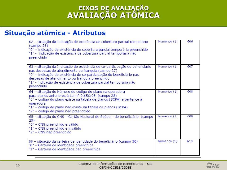 Sistema de Informações de Beneficiários - SIB GEPIN/GGSIS/DIDES 20 EIXOS DE AVALIAÇÃO AVALIAÇÃO ATÔMICA Situação atômica - Atributos