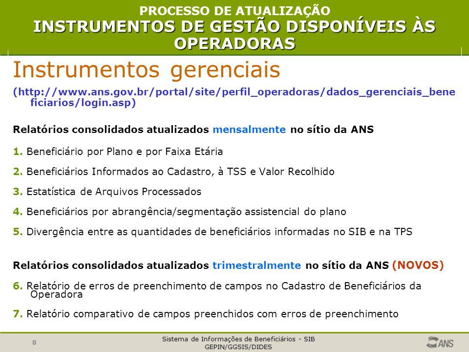 Sistema de Informações de Beneficiários - SIB GEPIN/GGSIS/DIDES 8 Instrumentos gerenciais (http://www.ans.gov.br/portal/site/perfil_operadoras/dados_g