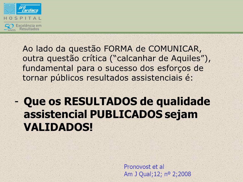 -Que os RESULTADOS de qualidade assistencial PUBLICADOS sejam VALIDADOS! Pronovost et al Am J Qual;12; nº 2;2008 Ao lado da questão FORMA de COMUNICAR