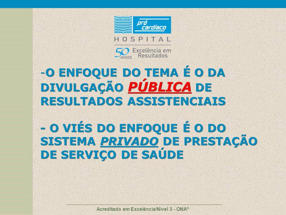 A agenda O porque da divulgação pública Iniciativas – exemplos internacionais Análise crítica A iniciativa do Hospital Pró-Cardíaco Visões / propostas