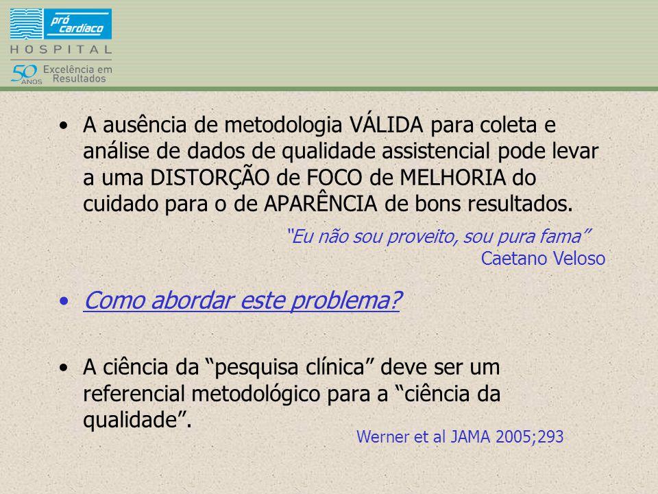 A ausência de metodologia VÁLIDA para coleta e análise de dados de qualidade assistencial pode levar a uma DISTORÇÃO de FOCO de MELHORIA do cuidado pa