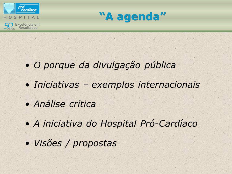 """""""A agenda"""" O porque da divulgação pública Iniciativas – exemplos internacionais Análise crítica A iniciativa do Hospital Pró-Cardíaco Visões / propost"""