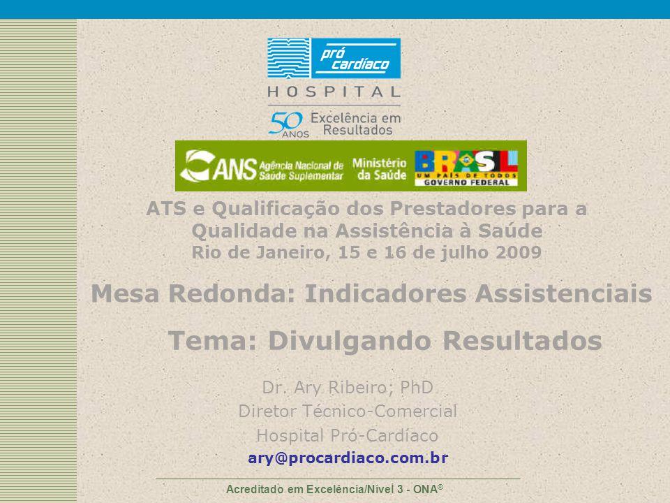 Acreditado em Excelência/Nível 3 - ONA ® Dr. Ary Ribeiro; PhD Diretor Técnico-Comercial Hospital Pró-Cardíaco ary@procardiaco.com.br ATS e Qualificaçã