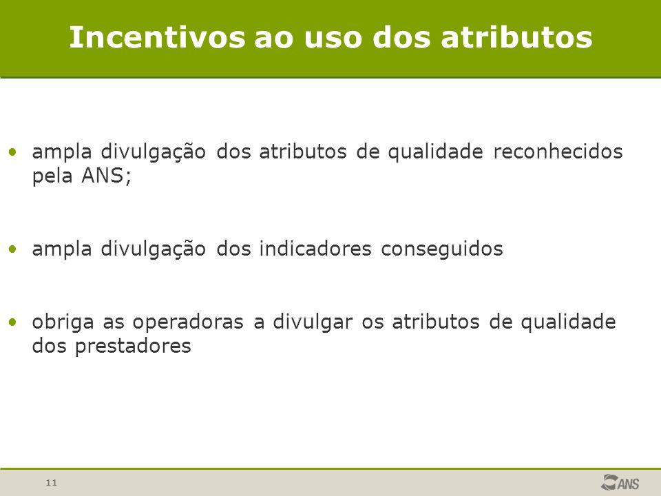 11 Incentivos ao uso dos atributos ampla divulgação dos atributos de qualidade reconhecidos pela ANS; ampla divulgação dos indicadores conseguidos obr