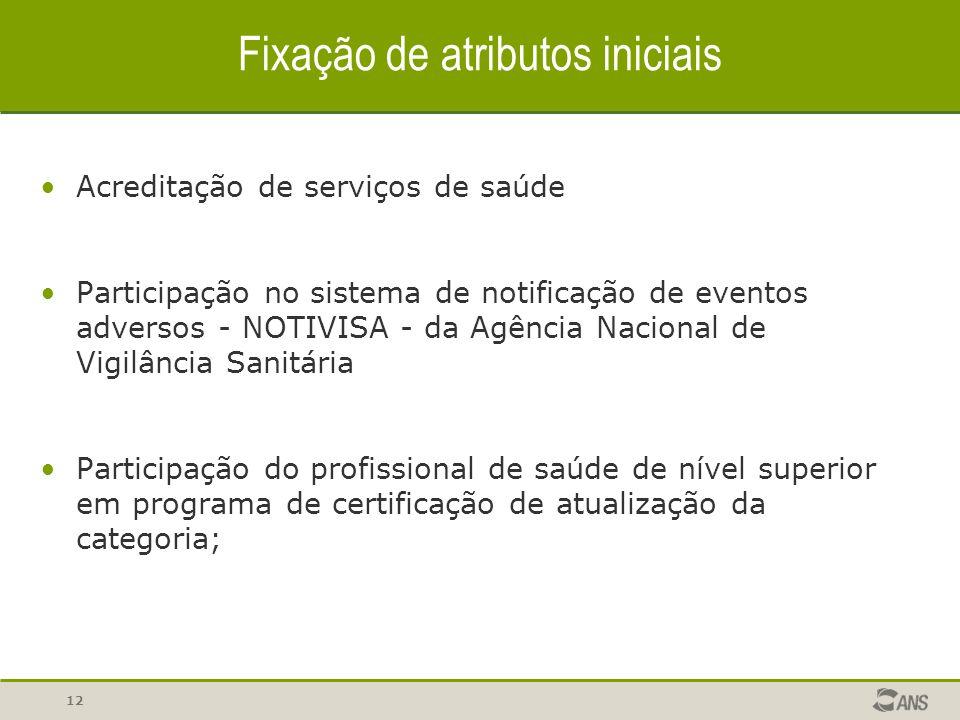 Fixação de atributos iniciais Acreditação de serviços de saúde Participação no sistema de notificação de eventos adversos - NOTIVISA - da Agência Naci