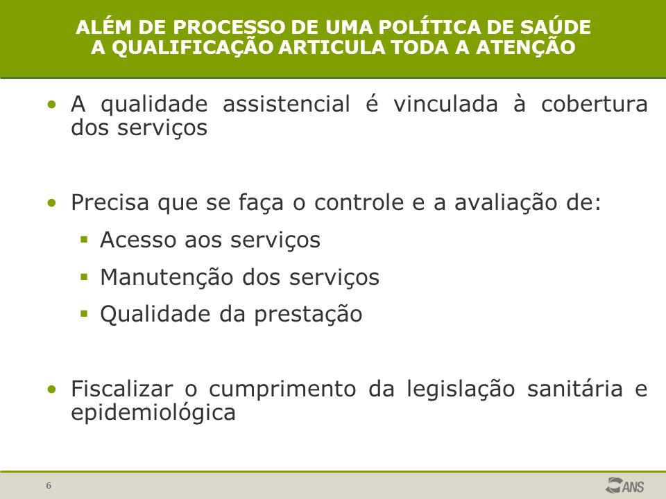6 ALÉM DE PROCESSO DE UMA POLÍTICA DE SAÚDE A QUALIFICAÇÃO ARTICULA TODA A ATENÇÃO A qualidade assistencial é vinculada à cobertura dos serviços Preci