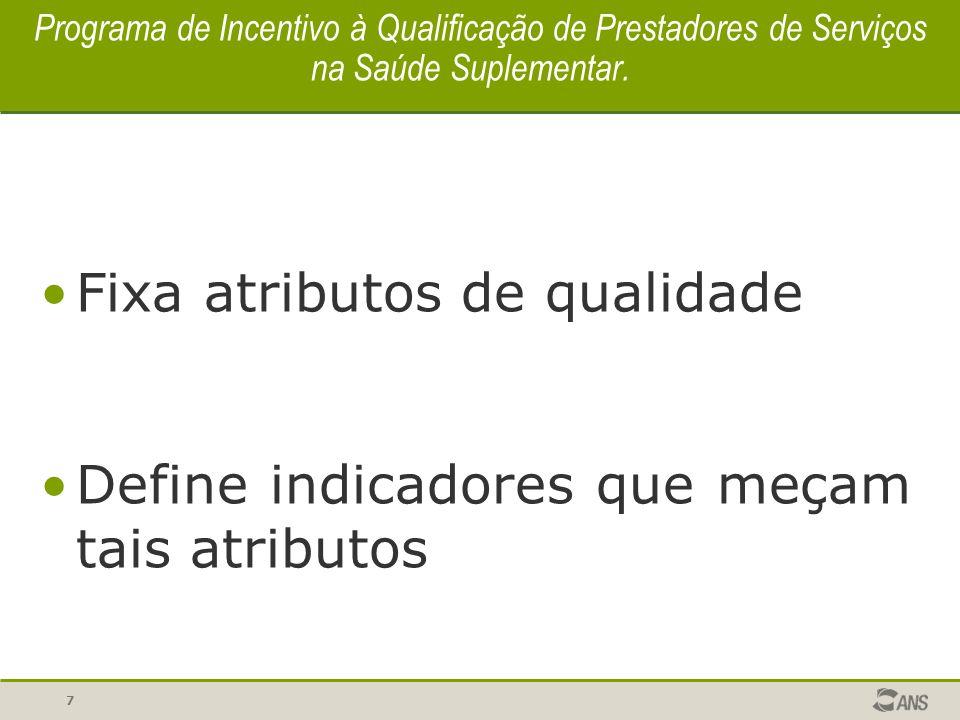 7 Programa de Incentivo à Qualificação de Prestadores de Serviços na Saúde Suplementar. Fixa atributos de qualidade Define indicadores que meçam tais