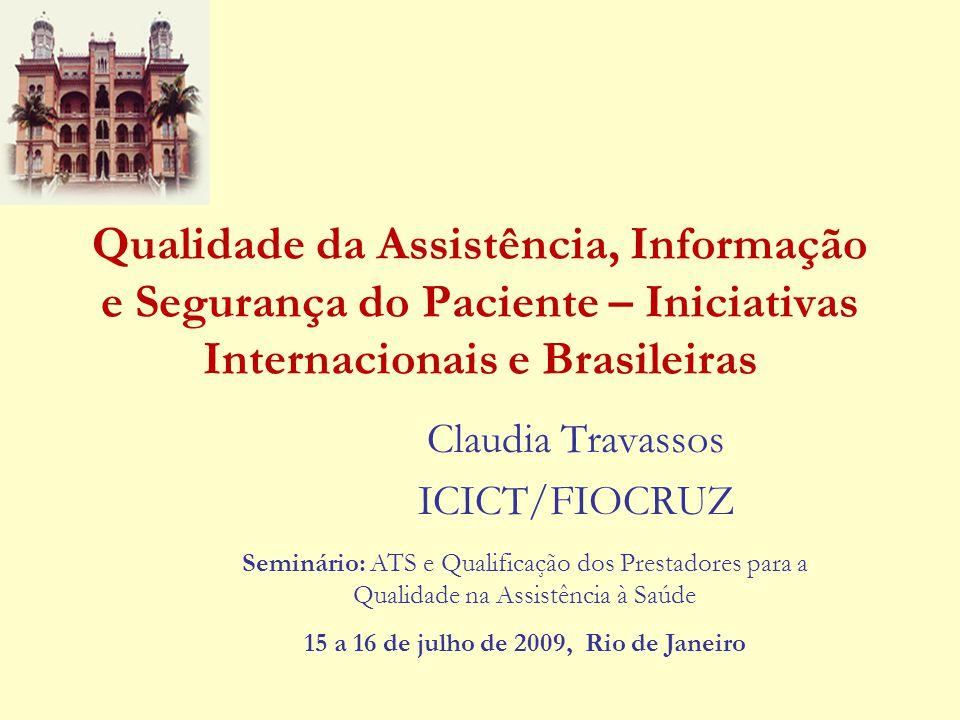 Resumo da Apresentação Linha do tempo – Qualidade Estados Unidos Brasil O recente destaque à dimensão Segurança do Paciente Relevância Efetividade e segurança Erro nas instituições de saúde Taxonomia Segurança do paciente em hospitais no Brasil