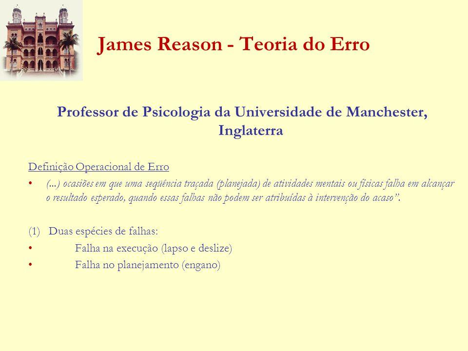 James Reason - Teoria do Erro Professor de Psicologia da Universidade de Manchester, Inglaterra Definição Operacional de Erro (...) ocasiões em que um