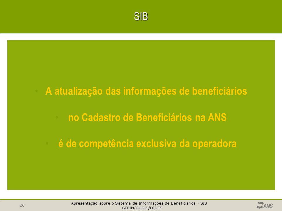 Apresentação sobre o Sistema de Informações de Beneficiários - SIB GEPIN/GGSIS/DIDES GEPIN/GGSIS/DIDES 25 QUALIDADE DOS DADOS - INFORMAR À ANS TODOS O
