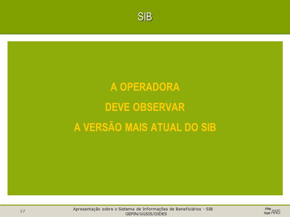Apresentação sobre o Sistema de Informações de Beneficiários - SIB GEPIN/GGSIS/DIDES GEPIN/GGSIS/DIDES 26SIB A atualização das informações de benefici