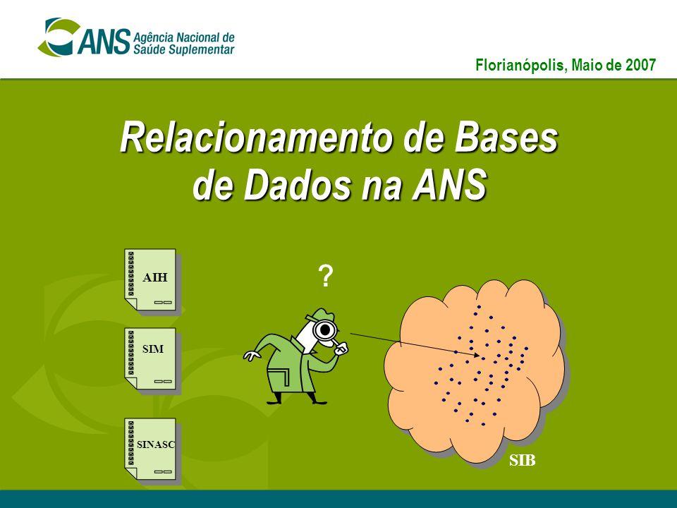Relacionamento de Bases de Dados na ANS SIB ? AIH SIM SINASC Florianópolis, Maio de 2007