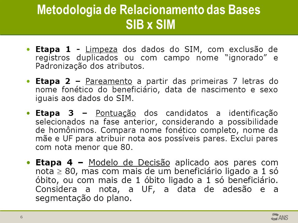 """6 Metodologia de Relacionamento das Bases SIB x SIM Etapa 1 - Limpeza dos dados do SIM, com exclusão de registros duplicados ou com campo nome """"ignora"""