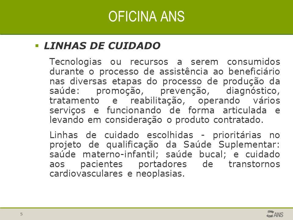 5  LINHAS DE CUIDADO Tecnologias ou recursos a serem consumidos durante o processo de assistência ao beneficiário nas diversas etapas do processo de