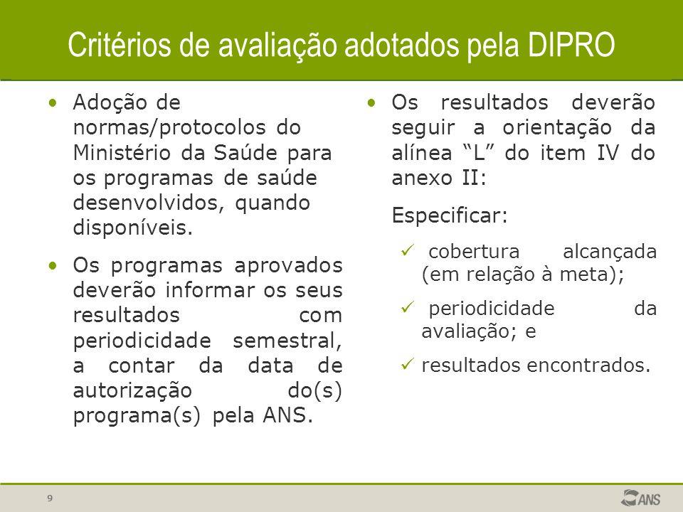 9 Adoção de normas/protocolos do Ministério da Saúde para os programas de saúde desenvolvidos, quando disponíveis. Os programas aprovados deverão info