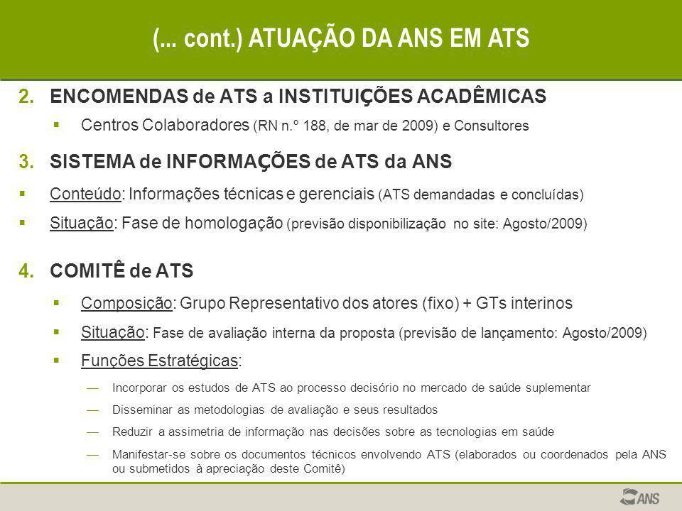 2.ENCOMENDAS de ATS a INSTITUI Ç ÕES ACADÊMICAS  Centros Colaboradores (RN n.º 188, de mar de 2009) e Consultores 3.SISTEMA de INFORMA Ç ÕES de ATS d