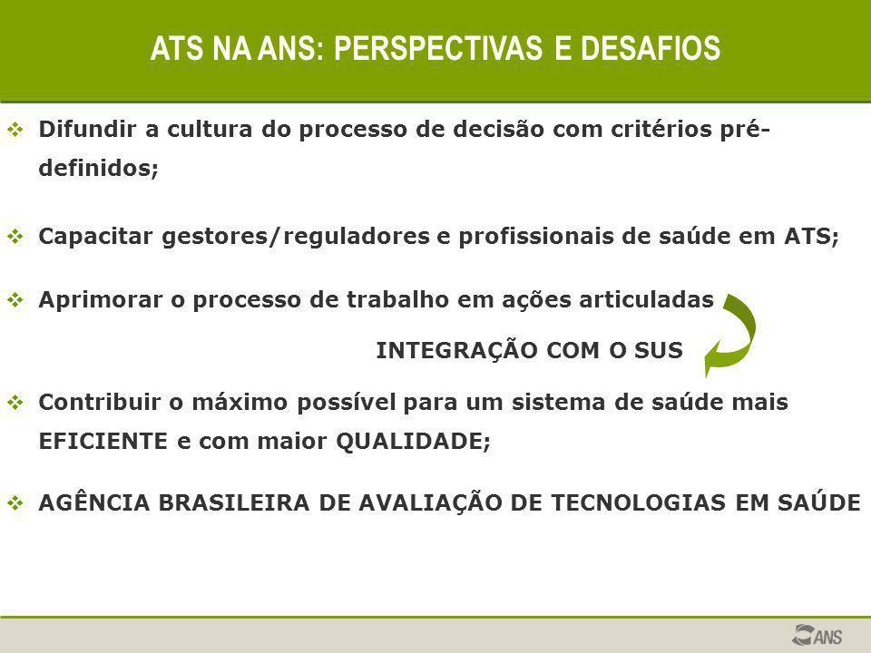  Difundir a cultura do processo de decisão com critérios pré- definidos;  Capacitar gestores/reguladores e profissionais de saúde em ATS;  Aprimora