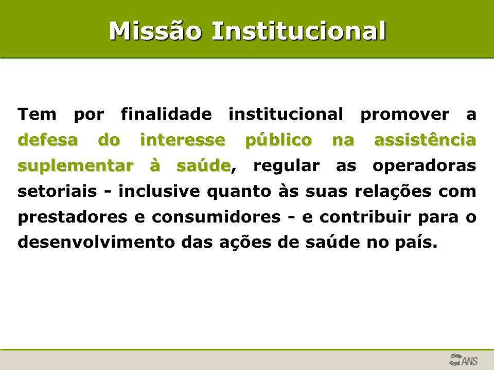 Missão Institucional defesa do interesse público na assistência suplementar à saúde Tem por finalidade institucional promover a defesa do interesse pú