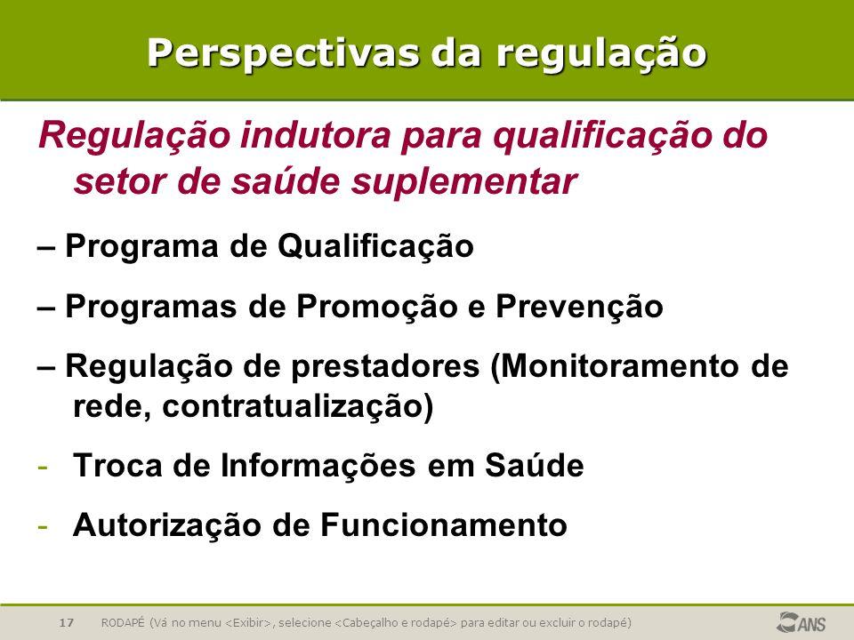 RODAPÉ (Vá no menu, selecione para editar ou excluir o rodapé)17 Perspectivas da regulação Regulação indutora para qualificação do setor de saúde supl