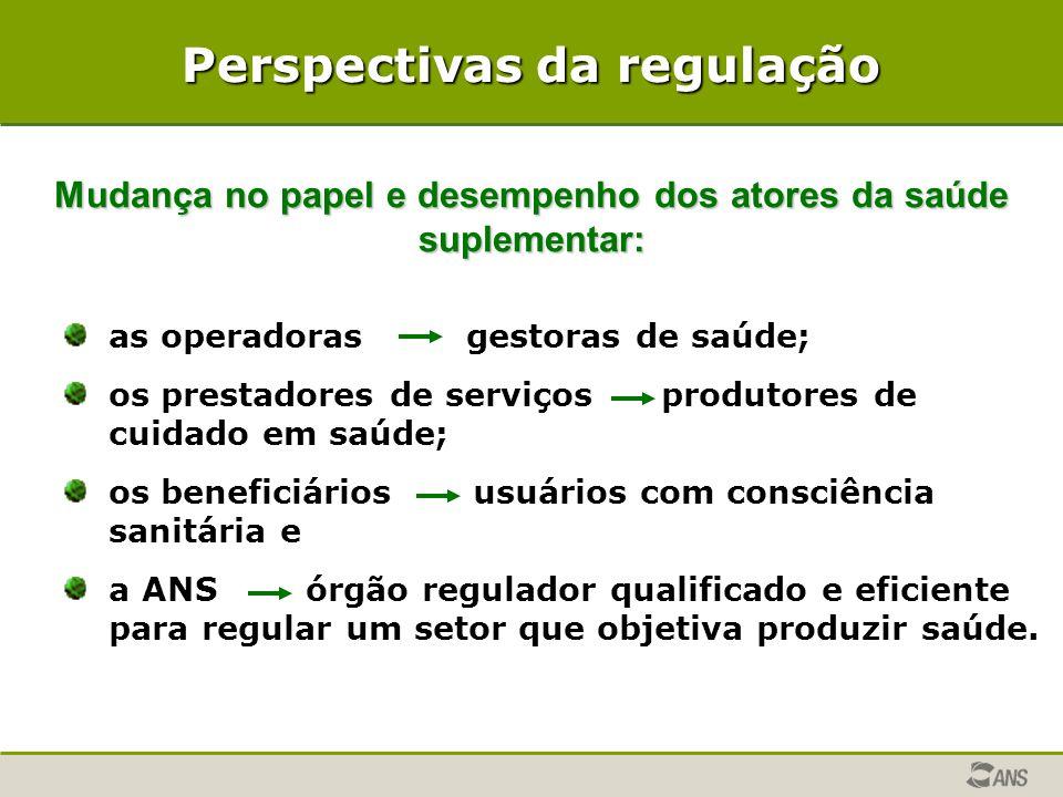 Perspectivas da regulação Mudança no papel e desempenho dos atores da saúde suplementar: as operadoras gestoras de saúde; os prestadores de serviços p