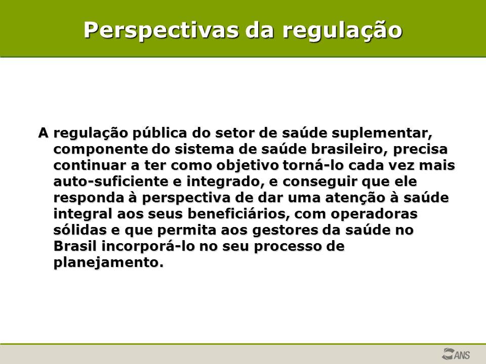 Perspectivas da regulação A regulação pública do setor de saúde suplementar, componente do sistema de saúde brasileiro, precisa continuar a ter como o
