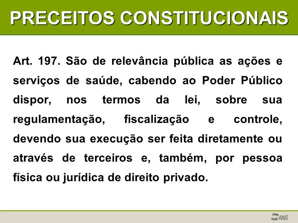 PRECEITOS CONSTITUCIONAIS Art. 197. São de relevância pública as ações e serviços de saúde, cabendo ao Poder Público dispor, nos termos da lei, sobre