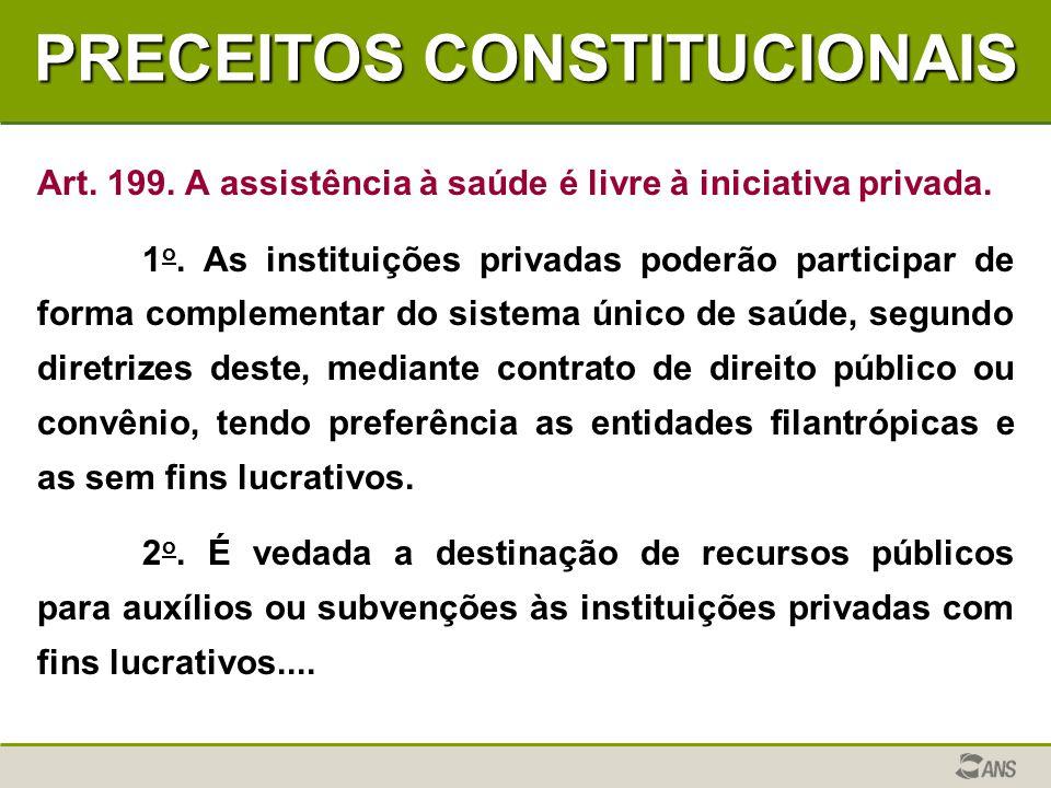 PRECEITOS CONSTITUCIONAIS Art. 199. A assistência à saúde é livre à iniciativa privada. 1 o. As instituições privadas poderão participar de forma comp