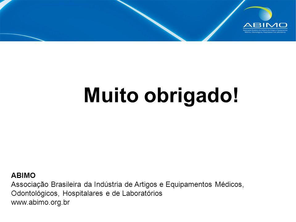 Muito obrigado! ABIMO Associação Brasileira da Indústria de Artigos e Equipamentos Médicos, Odontológicos, Hospitalares e de Laboratórios www.abimo.or