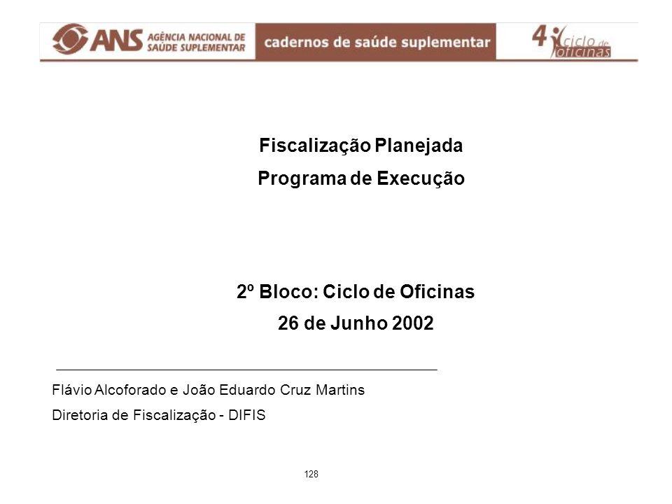 Fiscalização Planejada Programa de Execução Flávio Alcoforado e João Eduardo Cruz Martins Diretoria de Fiscalização - DIFIS 2º Bloco: Ciclo de Oficina