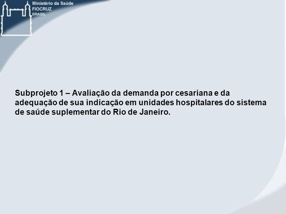 Subprojeto 1 – Avaliação da demanda por cesariana e da adequação de sua indicação em unidades hospitalares do sistema de saúde suplementar do Rio de J