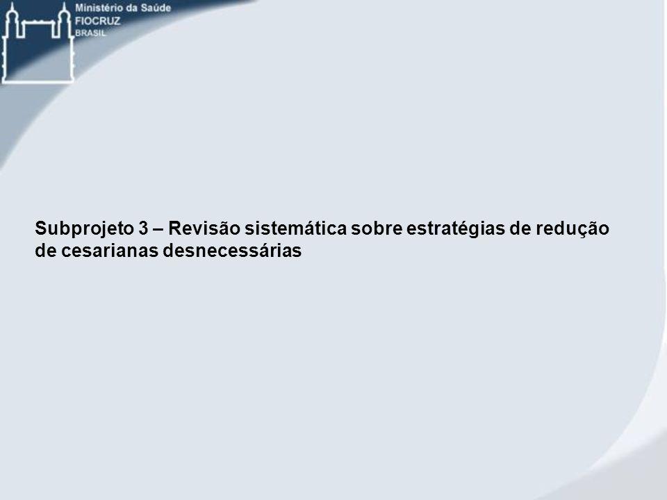 Subprojeto 3 – Revisão sistemática sobre estratégias de redução de cesarianas desnecessárias