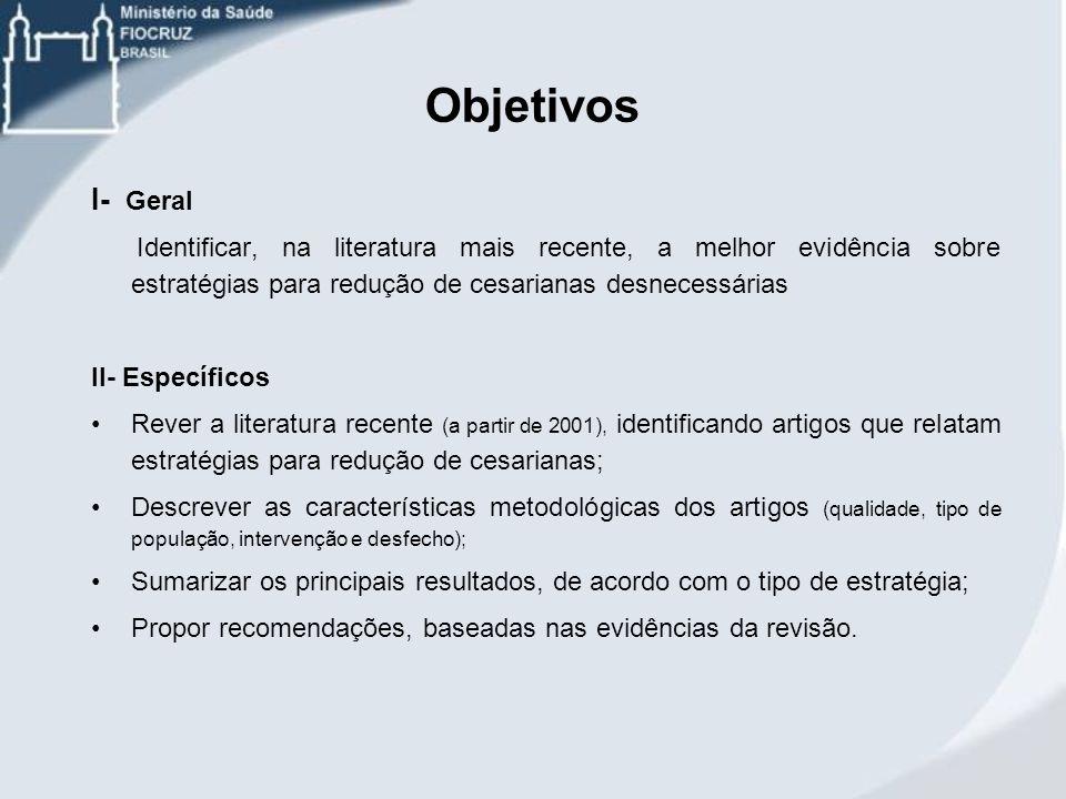 Objetivos I- Geral Identificar, na literatura mais recente, a melhor evidência sobre estratégias para redução de cesarianas desnecessárias II- Específ