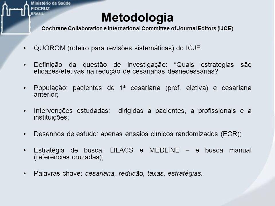 Metodologia Cochrane Collaboration e International Committee of Journal Editors (IJCE ) QUOROM (roteiro para revisões sistemáticas) do ICJE Definição