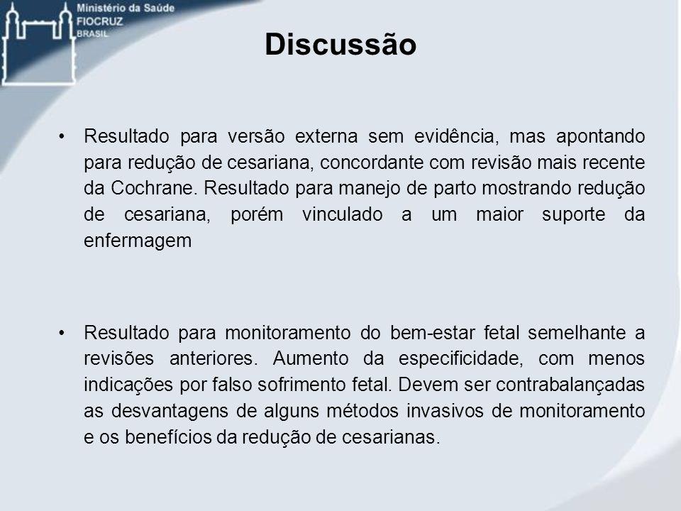 Discussão Resultado para versão externa sem evidência, mas apontando para redução de cesariana, concordante com revisão mais recente da Cochrane. Resu