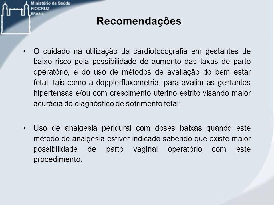 Recomendações O cuidado na utilização da cardiotocografia em gestantes de baixo risco pela possibilidade de aumento das taxas de parto operatório, e d