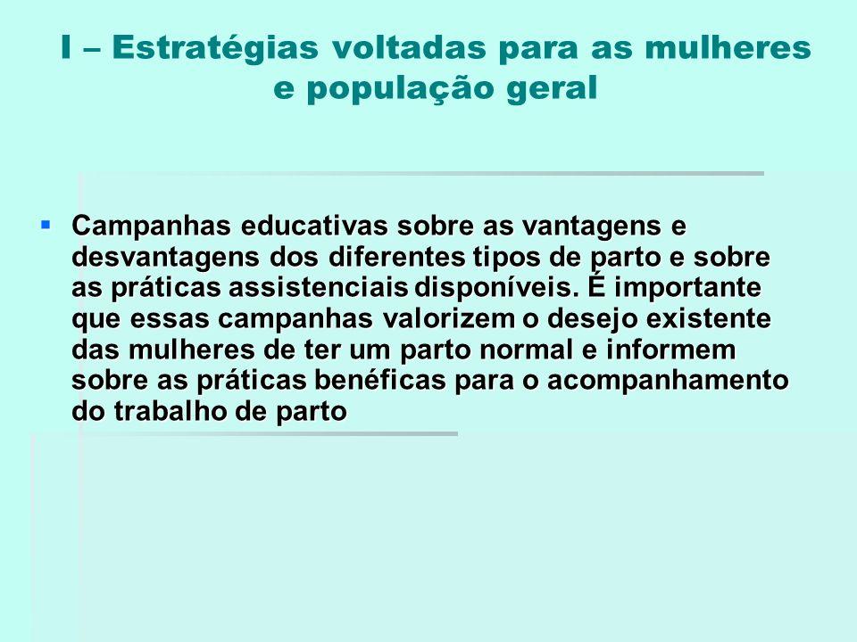 I – Estratégias voltadas para as mulheres e população geral  Campanhas educativas sobre as vantagens e desvantagens dos diferentes tipos de parto e s