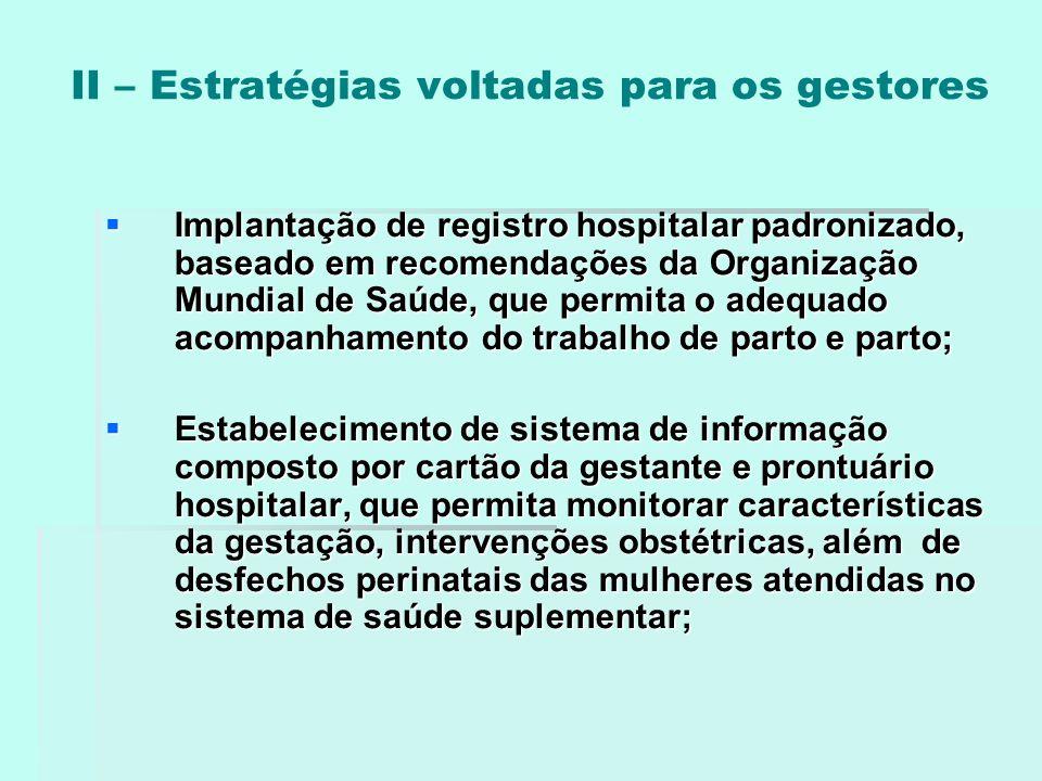 II – Estratégias voltadas para os gestores  Implantação de registro hospitalar padronizado, baseado em recomendações da Organização Mundial de Saúde,