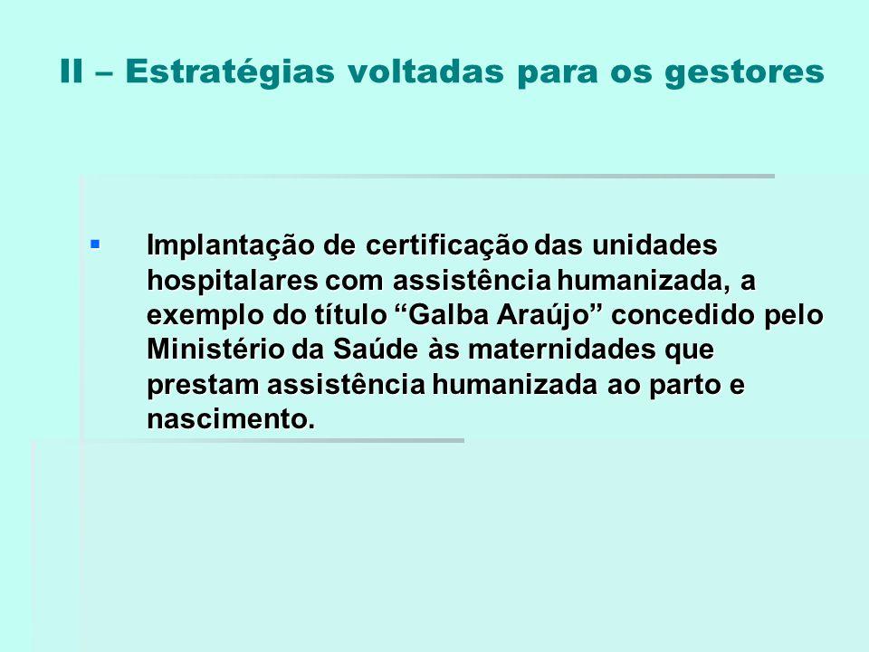 """II – Estratégias voltadas para os gestores  Implantação de certificação das unidades hospitalares com assistência humanizada, a exemplo do título """"Ga"""