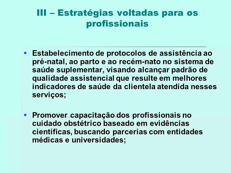 III – Estratégias voltadas para os profissionais  Estabelecimento de protocolos de assistência ao pré-natal, ao parto e ao recém-nato no sistema de s