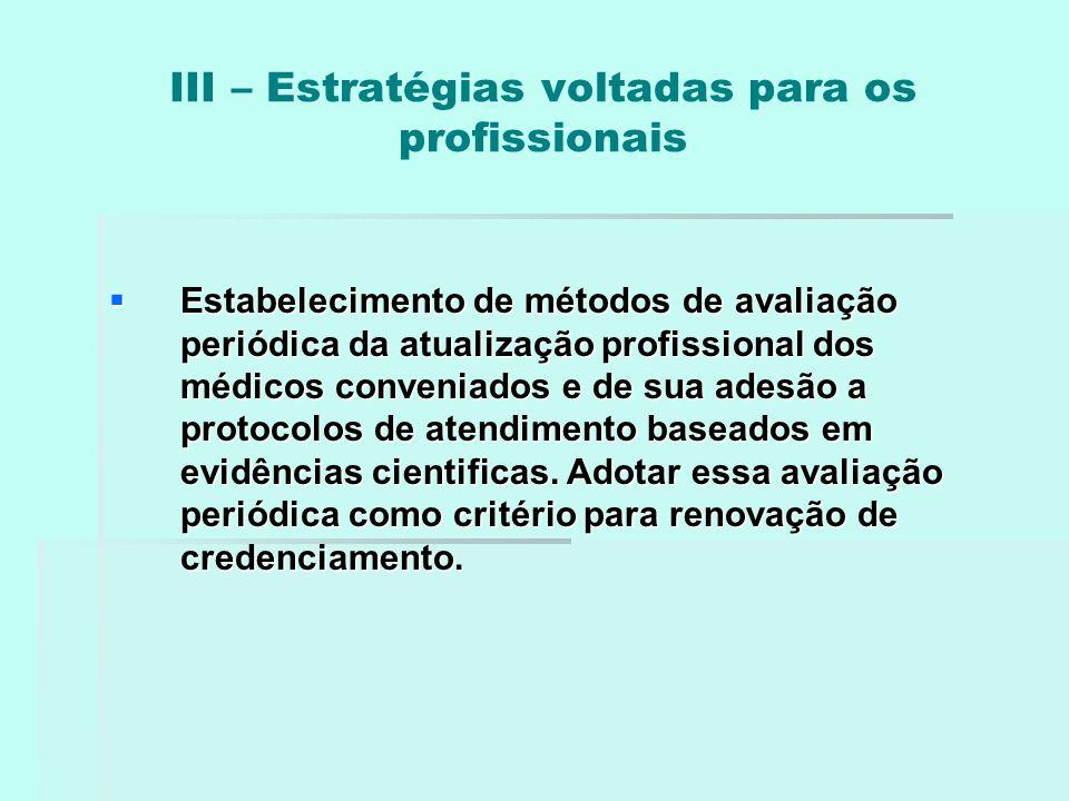 III – Estratégias voltadas para os profissionais  Estabelecimento de métodos de avaliação periódica da atualização profissional dos médicos conveniad