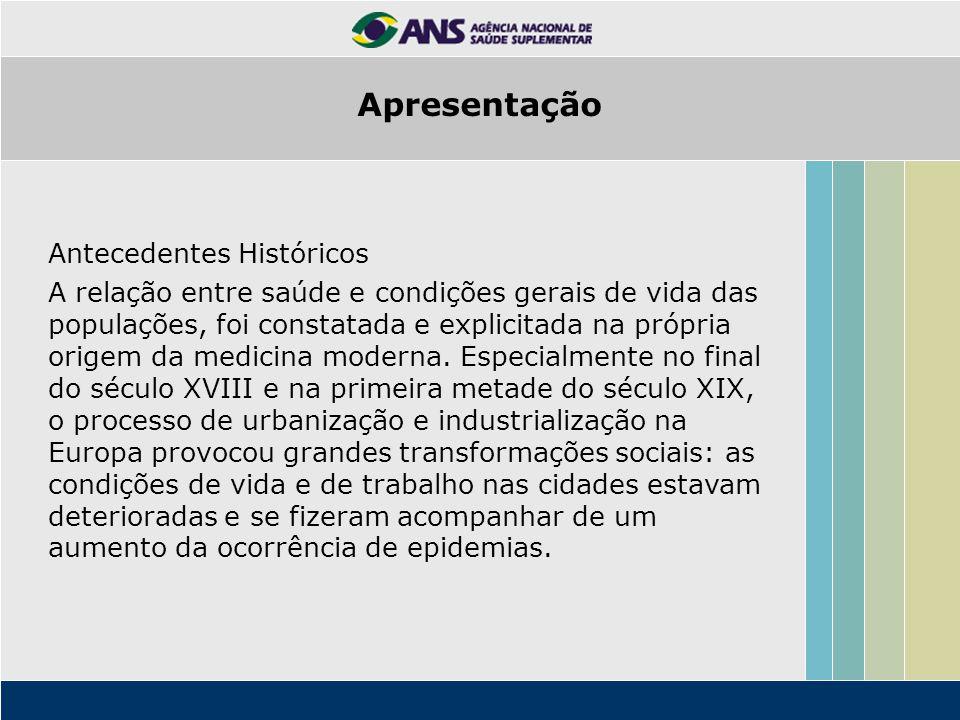 Antecedentes Históricos A relação entre saúde e condições gerais de vida das populações, foi constatada e explicitada na própria origem da medicina mo