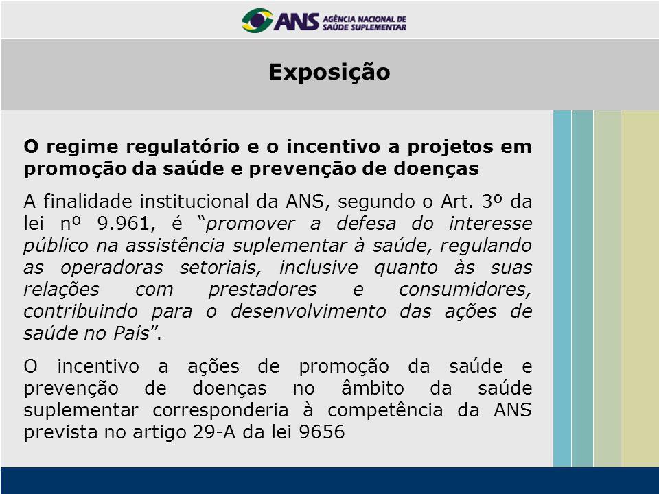 O regime regulatório e o incentivo a projetos em promoção da saúde e prevenção de doenças A finalidade institucional da ANS, segundo o Art. 3º da lei