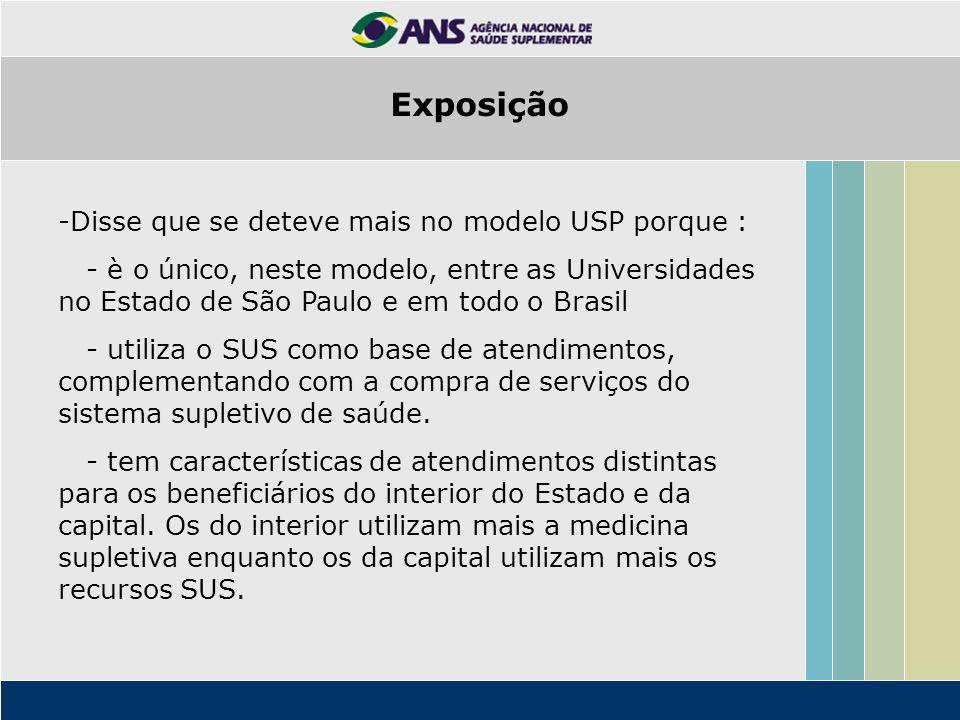 -Disse que se deteve mais no modelo USP porque : - è o único, neste modelo, entre as Universidades no Estado de São Paulo e em todo o Brasil - utiliza