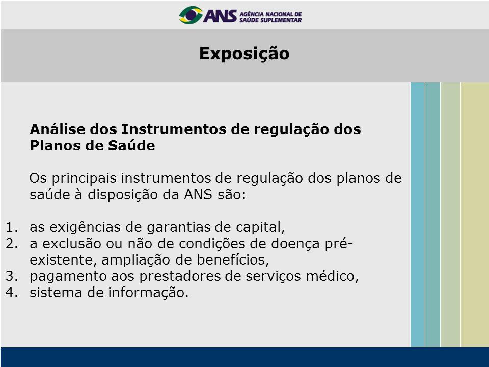 Análise dos Instrumentos de regulação dos Planos de Saúde Os principais instrumentos de regulação dos planos de saúde à disposição da ANS são: 1.as ex